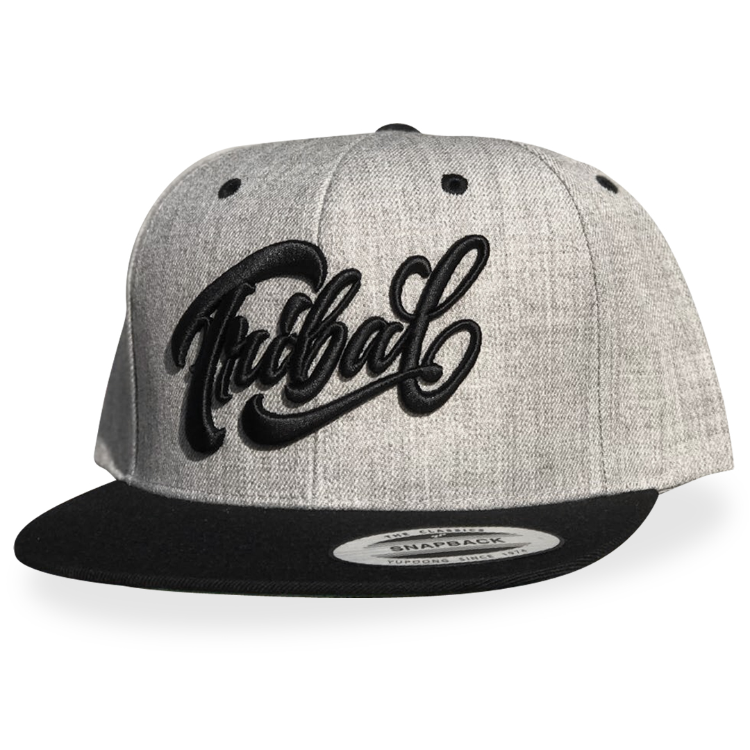 Heather Gray SCRIPT – Snapback Cap – Tribal Streetwear – Worldwide ... 4f11a418899